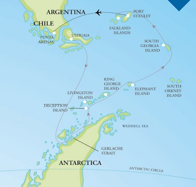 2019 Antarctica Expedition Map
