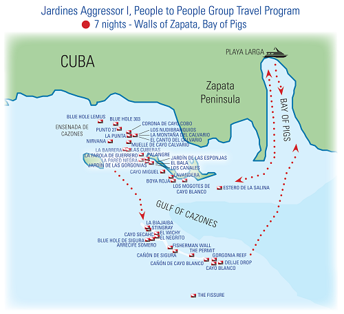 Itinerary Map of Cuba Zapata Reserve Bay of Pigs